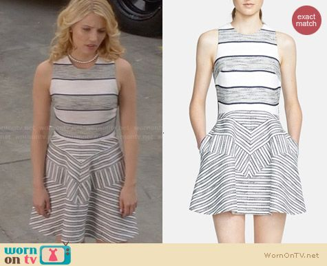 3.1 Phillip Lim Chevron Detail Full Skirt Dress worn by Dianna Agron on Glee