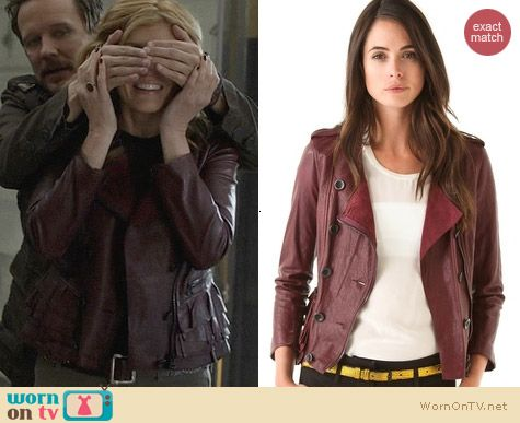 3.1 Phillip Lim Ruffled Leather Jacket in Berry worn by Connie Britton on Nashville