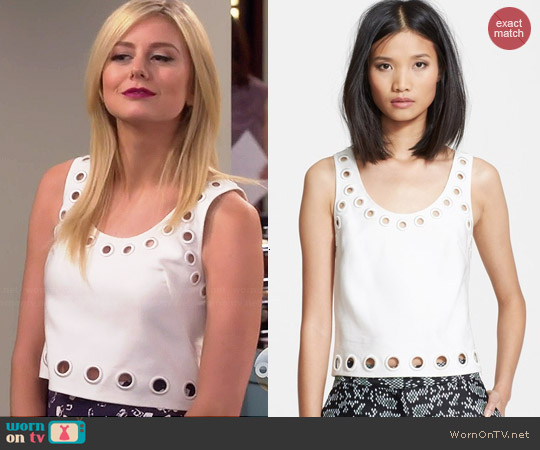 3.1 Phillip Lim Eyelet Crop Tank worn by Justine Lupe on Cristela