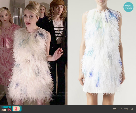 3.1 Phillip Lim Feather Front Shift Dress worn by Emma Roberts on Scream Queens