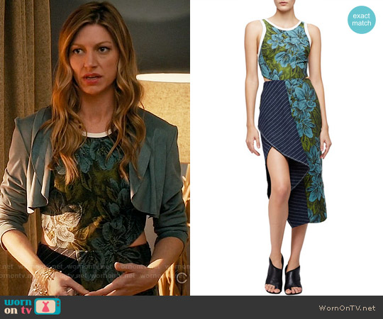 3.1 Phillp Lim Sleeveless Floral Dress w/ Striped Trim worn by Jes Macallan on Mistresses