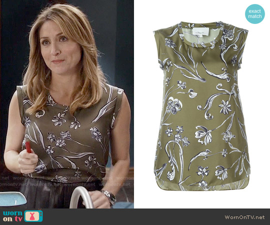 3.1 Phillip Lim Floral Print Tank Top worn by Sasha Alexander on Rizzoli & Isles