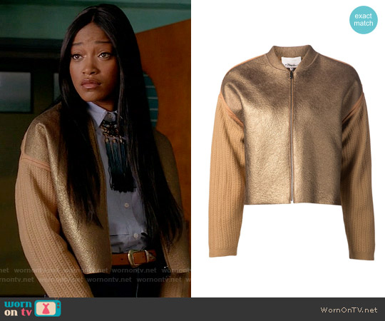 3.1 Phillip Lim Knit Sleeve Bomber Jacket worn by Zayday Williams on Scream Queens