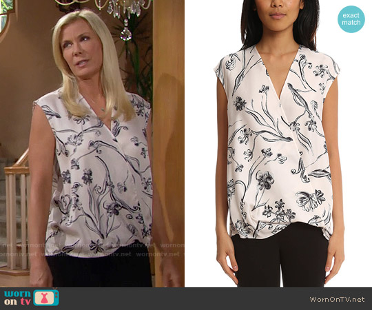 3.1 Phillip Lim Floral Print Soft Draped Sleeveless Blouse worn by Katherine Kelly Lang on The Bold & the Beautiful