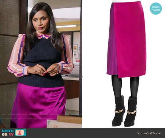 3.1 Phillip Lim Two Tone Draped Midi Skirt worn by Mindy Lahiri on The Mindy Project