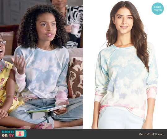 35mm Clothing 'Jenna' Print Hacci Sweatshirt worn by Yara Shahidi on Blackish
