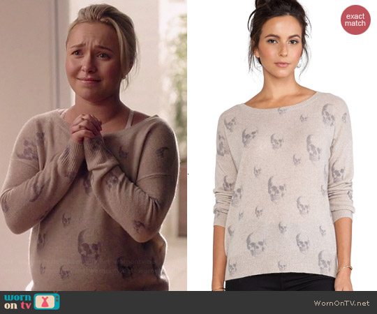 360 Sweater Dexter Skull Sweater in Sable worn by Hayden Panettiere on Nashville