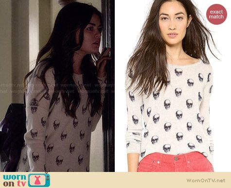 360 Sweater Jackie Dee Cashmere Skull Sweater worn by Lucy Hale on PLL