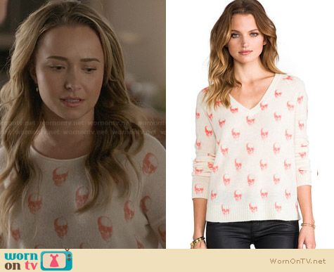 360 Sweater Jack Skull Sweater in Salmon worn by Hayden Panettiere on Nashville