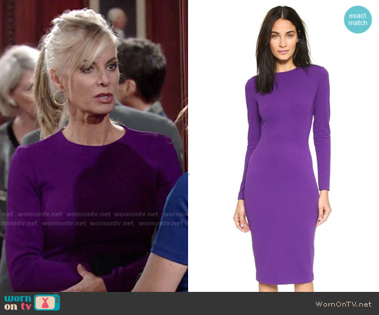 5th & Mercer Long Sleeve Dress in Purple worn by Eileen Davidson on The Young & the Restless