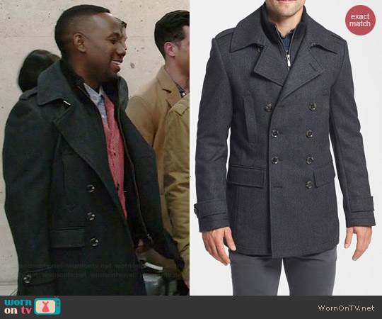 7 Diamonds Glasgow Coat in Charcoal worn by Lamorne Morris on New Girl