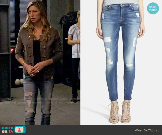 7 for all Mankind Destroyed Ankle Skinny Jeans worn by Jes Macallan on Mistresses