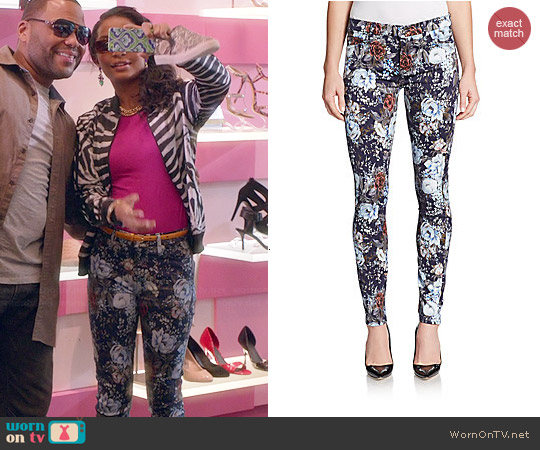 7 For All Mankind Floral Jeans worn by Yara Shahidi on Black-ish