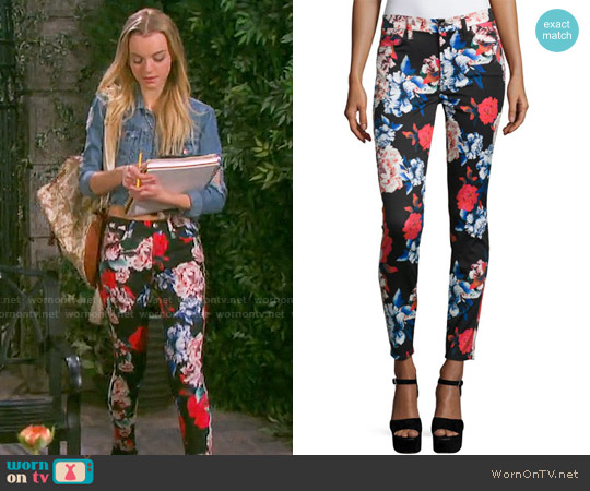 7 For all Mankind The Mid-Rise Ankle Skinny Jeans in Peony Floral worn by Claire Brady on Days of our Lives