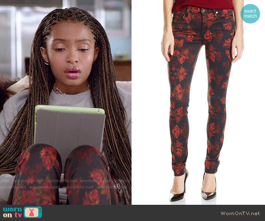 7 For All Mankind Skinny Jeans in Rouge Roses worn by Zoey Johnson on Blackish