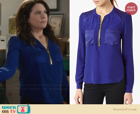 7 For All Mankind Silk Popover Blouse worn by Lauren Graham on Parenthood