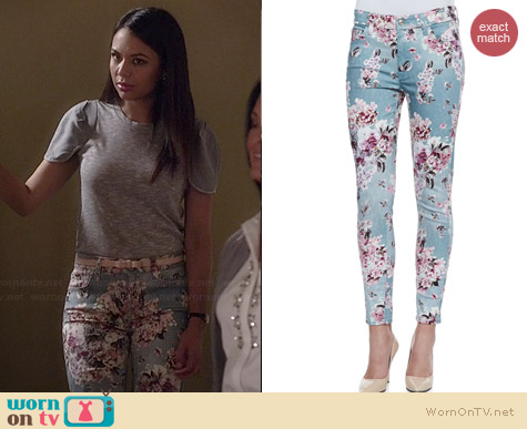 7 for all Mankind Skinny Jeans in Victorian Floral worn by Janel Parrish on PLL