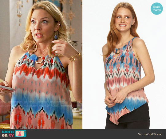 AB Studio Print Mock-Layer Chiffon Tank in Watercolor Multi Ikat worn by Tabrett Bethell on Mistresses