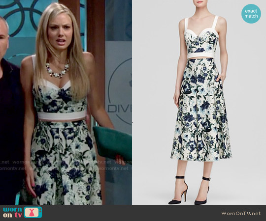 ABS by Allen Schwartz Floral Print Bustier Top and Midi Skirt worn by Melissa Ordway on The Young & the Restless