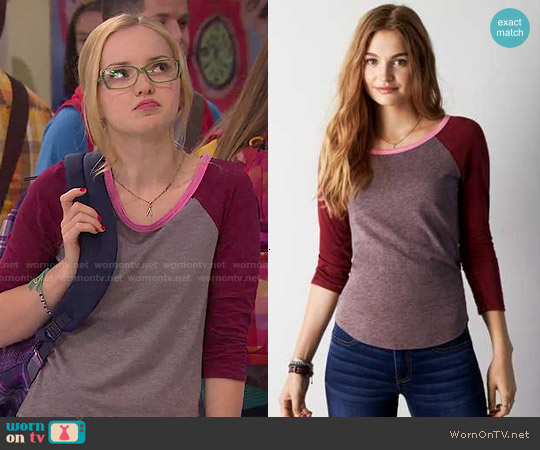 American Eagle Colorblock Baseball T-Shirt worn by Dove Cameron on Liv & Maddie