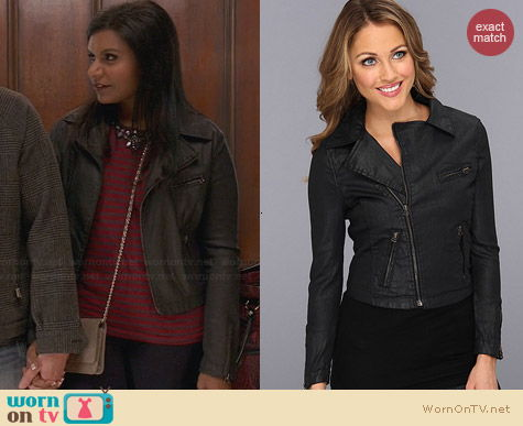 AG Adriano Goldschmied The Coated Biker Jacket worn by Mindy Kaling on The Mindy Project