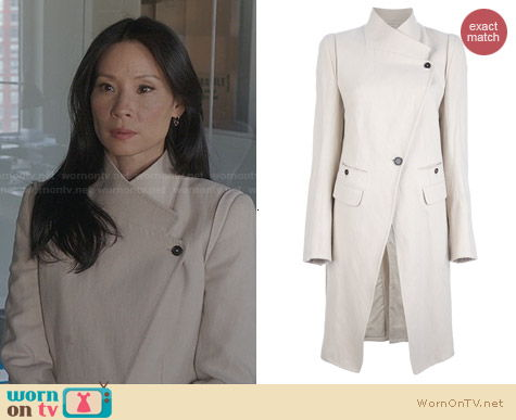 Ann Demeulemeester Blanche Structured Coat worn by Joan Watson on Elementary
