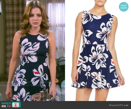 Aqua Big Floral Cross Back Dress worn by Jen Lilley on Days of our Lives