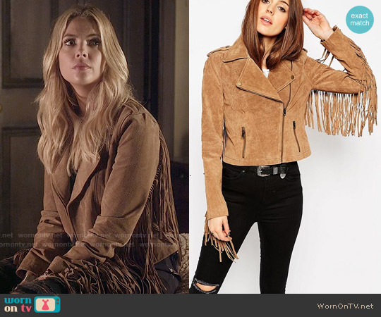 ASOS Biker Jacket In Suede With Fringing worn by Ashley Benson on PLL