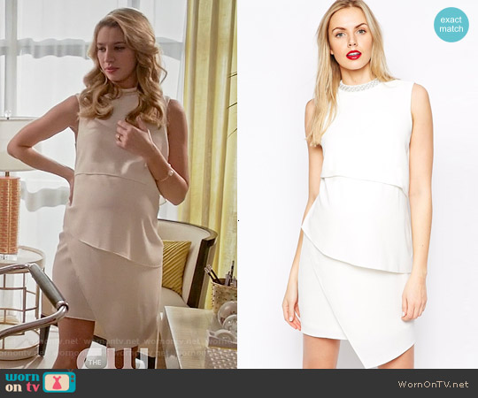 ASOS Maternity Asymmetric Shift Dress with Embellished Neck worn by Yael Grobglas on Jane the Virgin