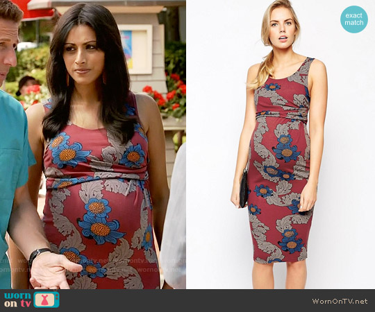 ASOS Maternity Exclusive Body-Conscious Dress With Side Draping In Winter Floral worn by Reshma Shetty on Royal Pains