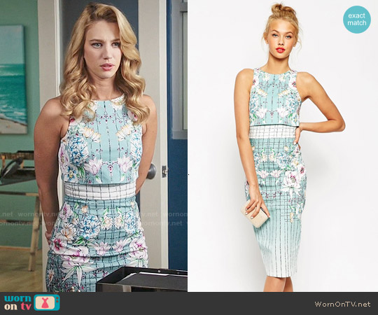 ASOS Placed Floral Crop Top Pencil Dress worn by Yael Grobglas on Jane the Virgin