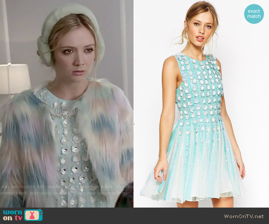 ASOS Salon 3d Floral Strip Skater Dress worn by Chanel #3 on Scream Queens