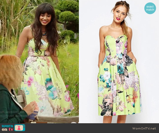 ASOS SALON Lime Floral Bandeau Midi Prom Dress worn by Jameela Jamil on The Good Place