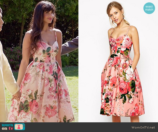 ASOS SALON Rose Print Bandeau Midi Prom Dress worn by Jameela Jamil on The Good Place