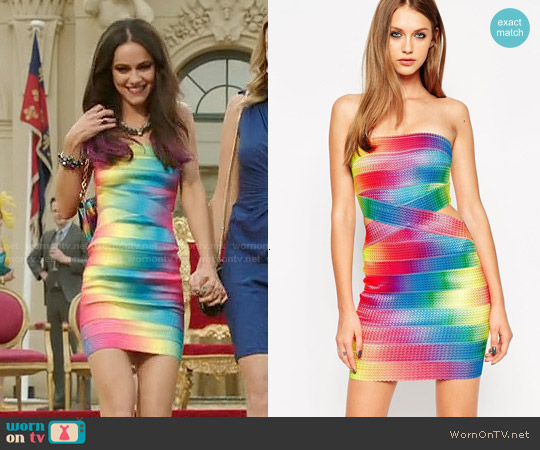 ASOS SCULPT Bandage Festival Rainbow Bandage Dress worn by Alexandra Park on The Royals