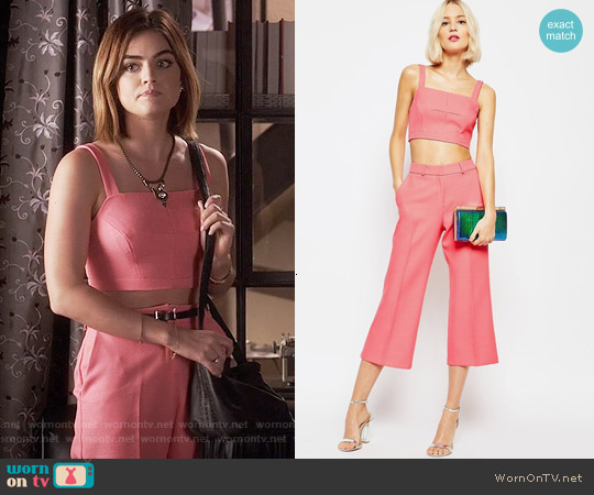 ASOS Square Neck Bralet and Cropped Flare Pant worn by Lucy Hale on PLL