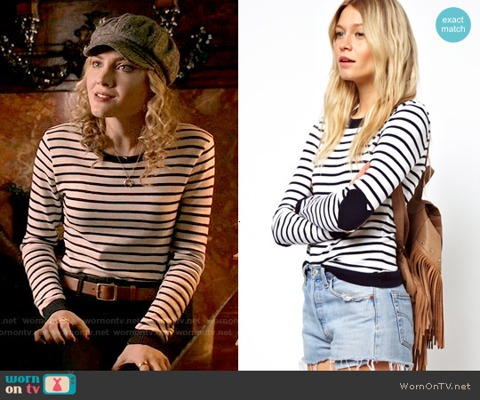 ASOS Striped Sweater With Heart Elbow Patch worn by Skyler Samuels on Scream Queens