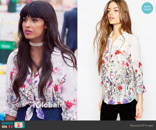 ASOS Water Colour Floral Border Print Blouse worn by Jameela Jamil on The Good Place