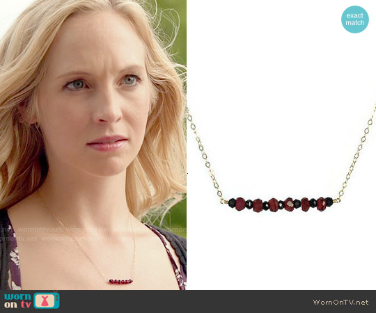 AdmirableJewels Garnet & Black Spinel Necklace worn by Caroline Forbes on The Vampire Diaries