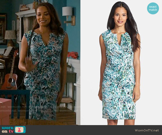 Adrianna Papell Surplice Floral Print Sheath Dress worn by Rochelle Aytes on Mistresses