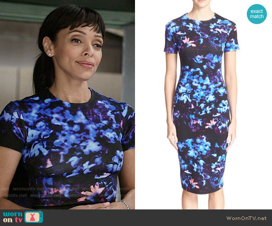 Alexander McQueen Floral Print Bodycon Dress worn by Tamara Taylor on Bones