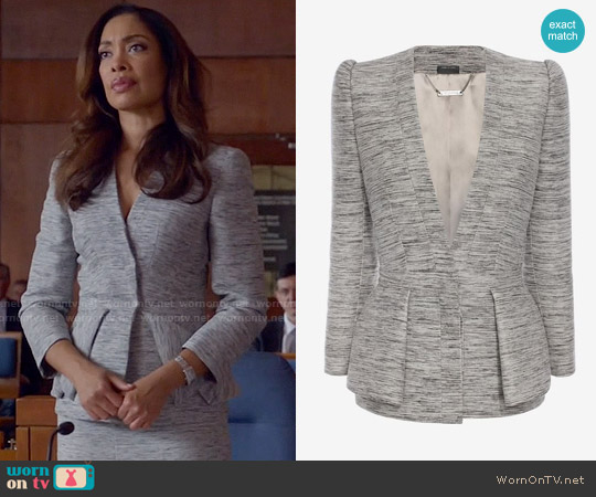 Alexander McQueen Fold Peplum Jacket worn by Gina Torres on Suits