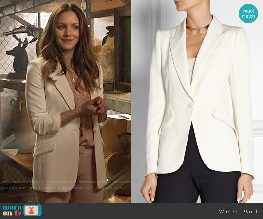 Alexander McQueen Grain de poudre wool blazer worn by Katharine McPhee on Scorpion