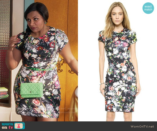 Alexander McQueen Long Body Con Floral Dress worn by Mindy Kaling on The Mindy Project