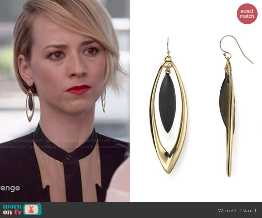 Alexis Bittar Lucite Neo Bohemian Marquis Orbital Drop Earrings worn by Karine Vanasse on Revenge