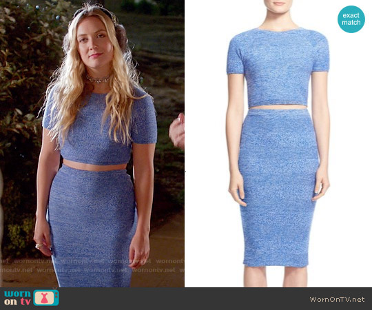 Alice & Olivia Solange Top and Morena Skirt worn by Billie Lourd on Scream Queens