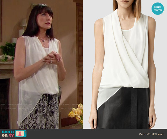 All Saints  'Abi' Top in Chalk worn by Rena Sofer on The Bold & the Beautiful