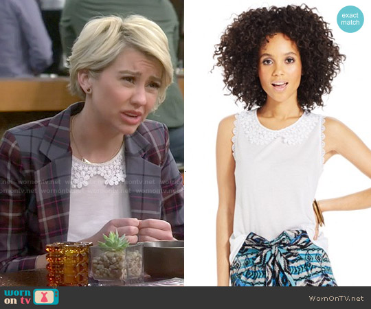 American Rag Crochet Collar Sleeveless Top worn by Chelsea Kane on Baby Daddy