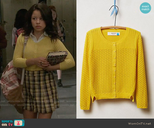 Anthropologie Pointelle Cable Cardigan worn by Mariana Foster on The Fosters