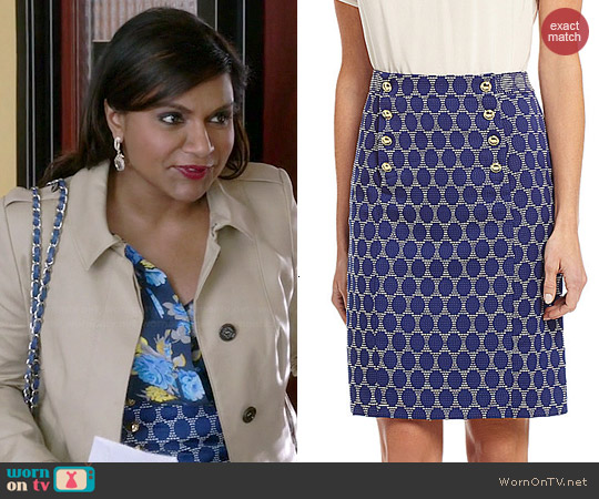 Antonio Melani Miranda Jacquard Skirt worn by Mindy Kaling on The Mindy Project